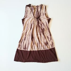 Calvin Klein Jeans Brown Tan Tie Dye V Neck Dress